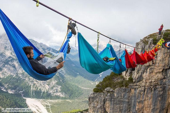 People at this festival slept on hammocks hanging hundreds