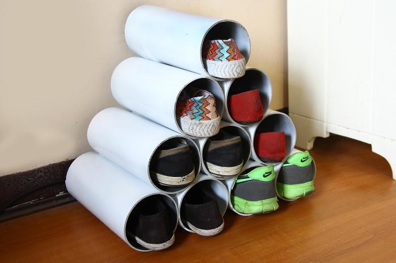 diy pvc pipe shoe rack tutorial. Black Bedroom Furniture Sets. Home Design Ideas