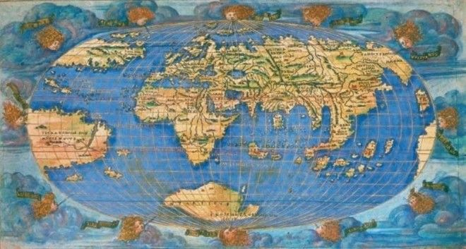25 ancient maps that make modern ones look very boring one of just two known colored editions this 1508 copy of francesco rossellis oval world map was one of the first to incorporate the americas following gumiabroncs Image collections