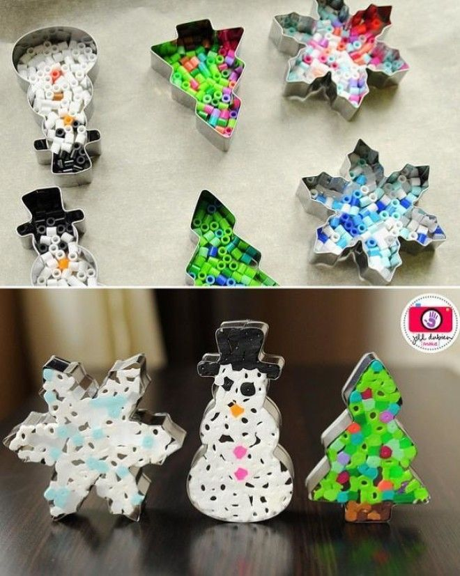 Great EnjoyMelted Perler Beads Ornament: Fill Metal Cookie Cutters With Colorful  Beads, Pop Them In The Oven And Watch What They Become! Via Meet The  Dubiens.