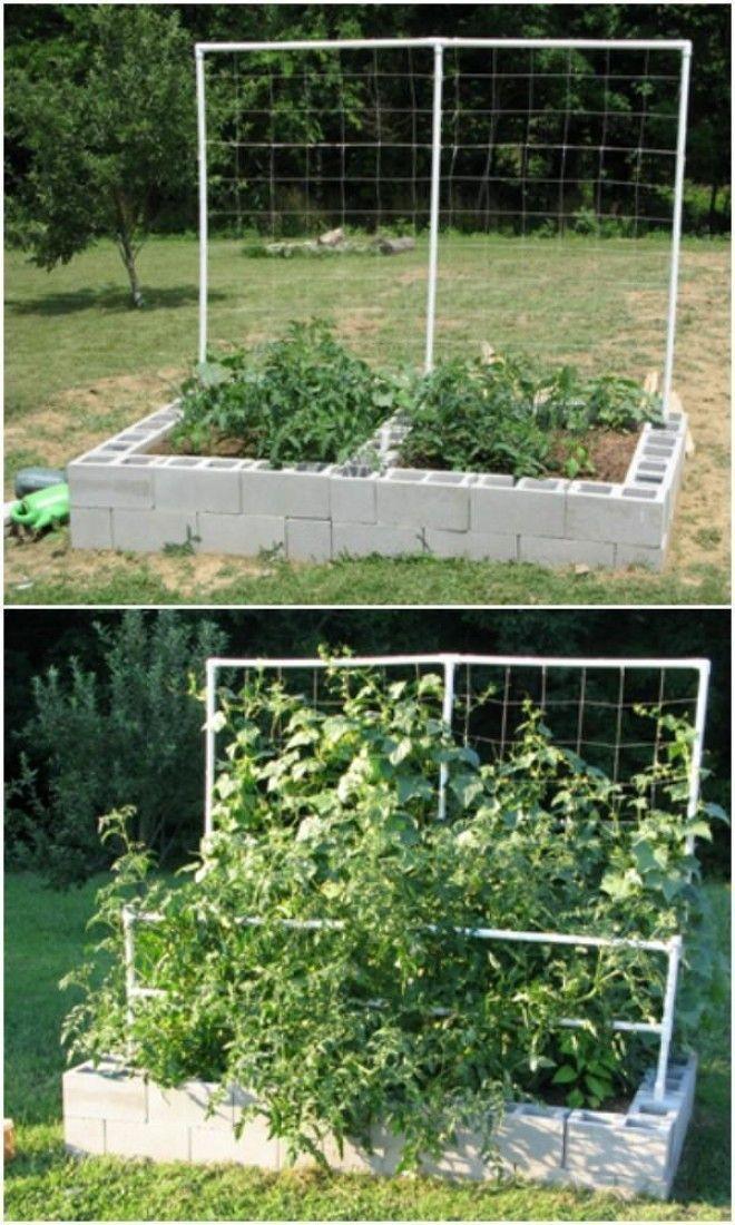 cinder block raised garden bed pin it - Cinder Block Garden Ideas