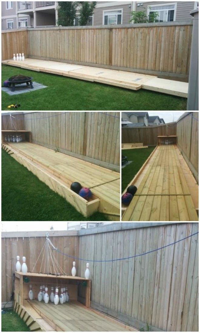 DIY Backyard Wood Bowling Alley