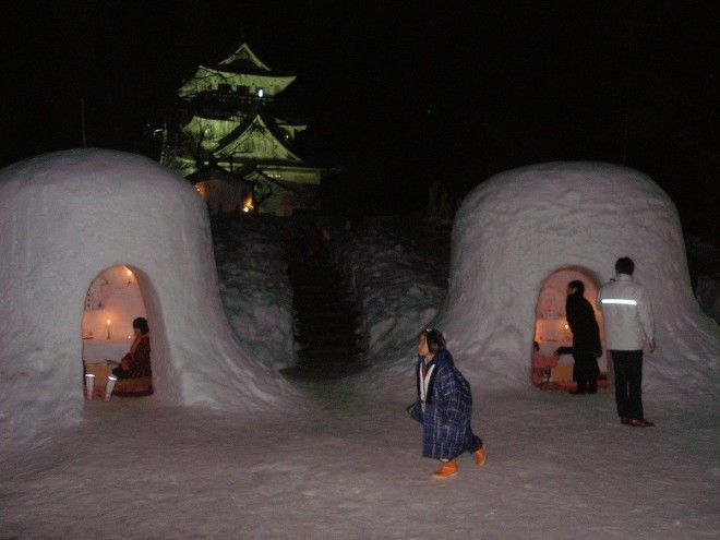 Build an igloo at Kamakura Festival in Yokote Japan