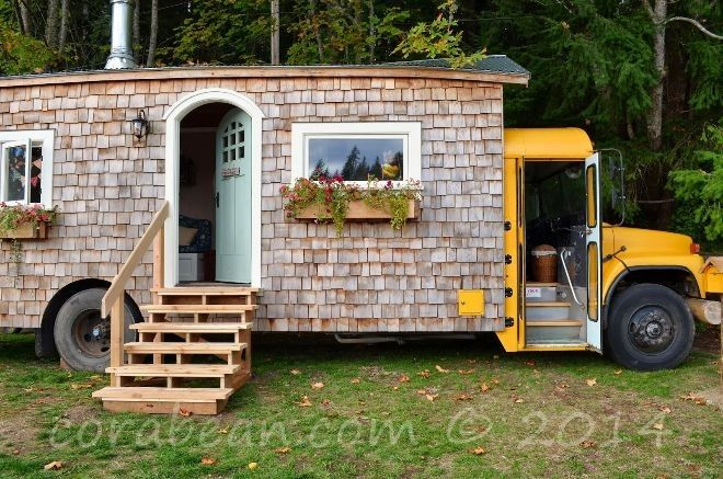 Couple Converts A School Bus Into A Magical Tiny Home