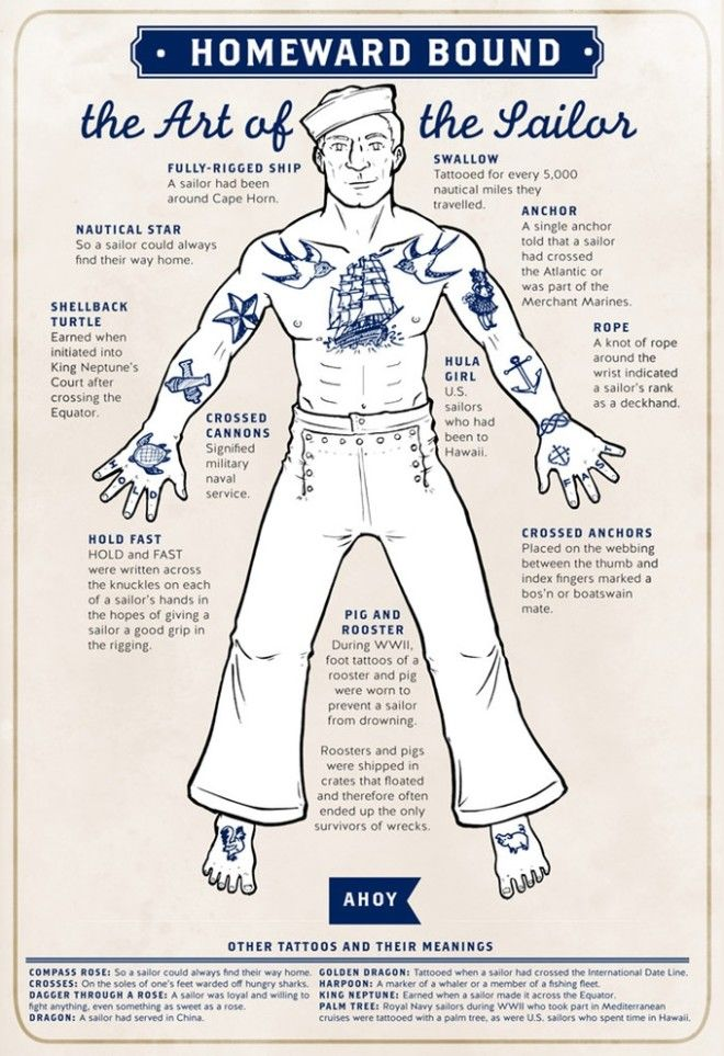 cartoonist illustrates the meanings behind traditional sailor tattoos