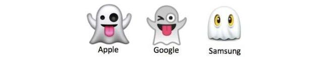 Three different ghost emojis from Apple, Google, and Samsung