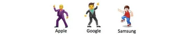 Three different man dancing emojis from Apple, Google, and Samsung