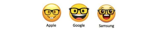 Three different nerd face emojis from Apple, Google, and Samsung