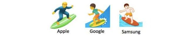 Three different person surfing emojis from Apple, Google, and Samsung