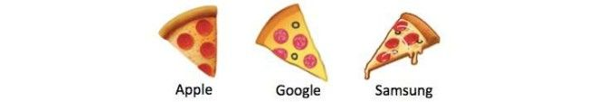 Three different pizza emojis from Apple, Google, and Samsung