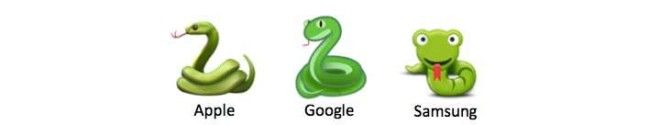 3 different snake emojis from Apple, Google, and Samsung