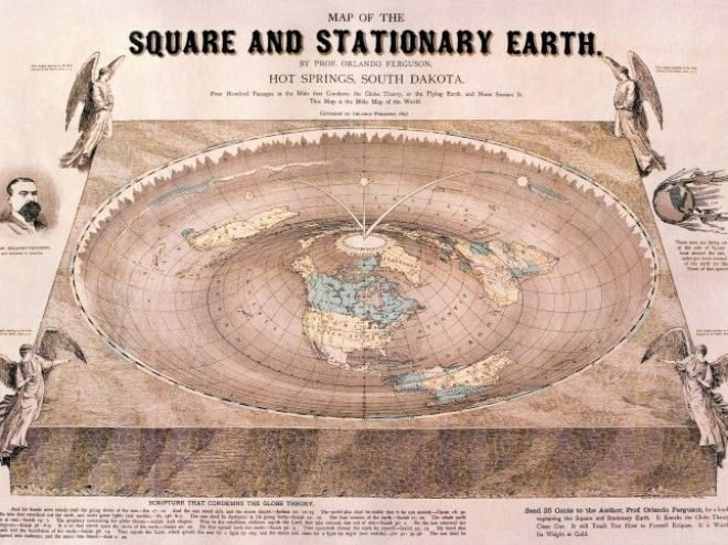 A map citing the biblical evidence for a flat earth from 1893.