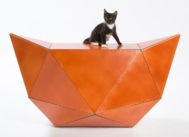 ESENEMs Meow Miaow A Flat Plywood Composition That Folds Into An OrigamiInspired Piece Of Furniture