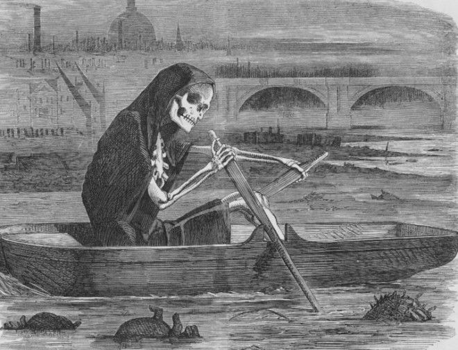 By 1860 thousands of tons of raw fecal matter was being dumped into the Thames on a daily basis as there was no other repository for sewage Oh and it was also the main source of drinking water for the city too People died in their thousands from dysentery cholera and typhoid People thought the contaminated air was making them ill Nope