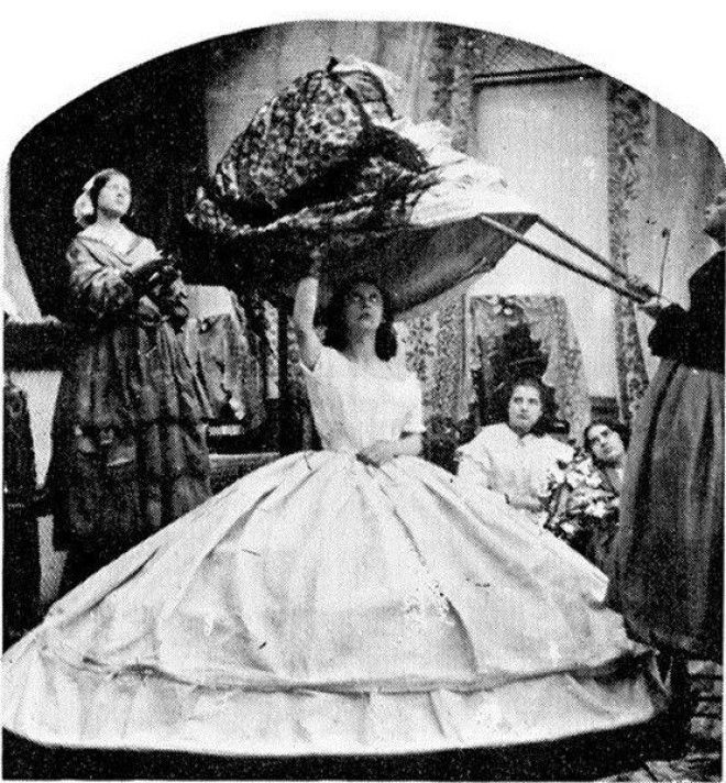 The crinoline period ran from 1850 to 1870 and involved layering several increasingly ornate skirts over a large wooden hoop to create truly massive outfits As well as obstructing doors crinolineclad women frequently set themselves on fire by brushing against candles so the trend didnt last that long Satirical magazine Punch advised husbands to register their wives at the fire insurance office