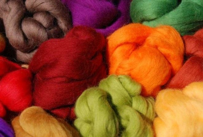Brightly colored wool