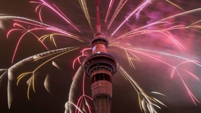 Fireworks on Auckland Sky Tower
