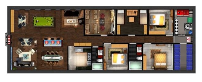 In this rendering, we see a three-bedroom home complete with a kitchen, living room, storage closet, and home theater. The blast door is not large enough for a garage.