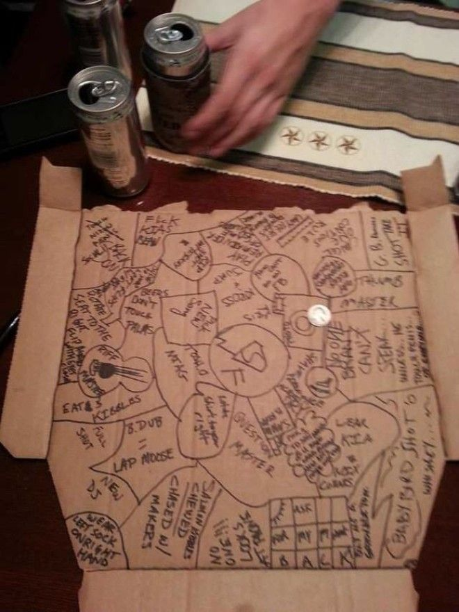 All you need is a pizza box (or another big sheet of cardboard) and a fun group of people. The game starts with each players name written in Sharpie and circled on a flattened pizza box. Players take turns flipping a coin onto the box. If it lands on a name, that player drinks. But if it lands on the board on a blank spot, that's where the chaos begins! The coin-flipper draws a new circle (or square, or whatever shape) and can write any rule or activity they want in the new circle. The next player who hit that space has to do whatever's written down. —sydneym15