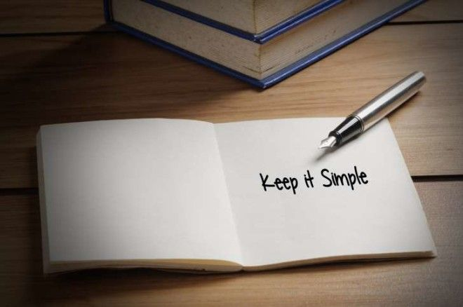 """Keep it Simple"" written in book"