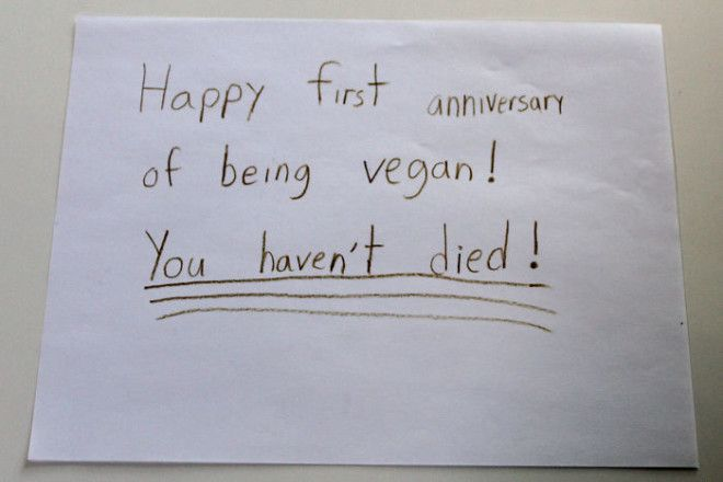One-Year Veganniversary Card From My 9 Year Old Daughter