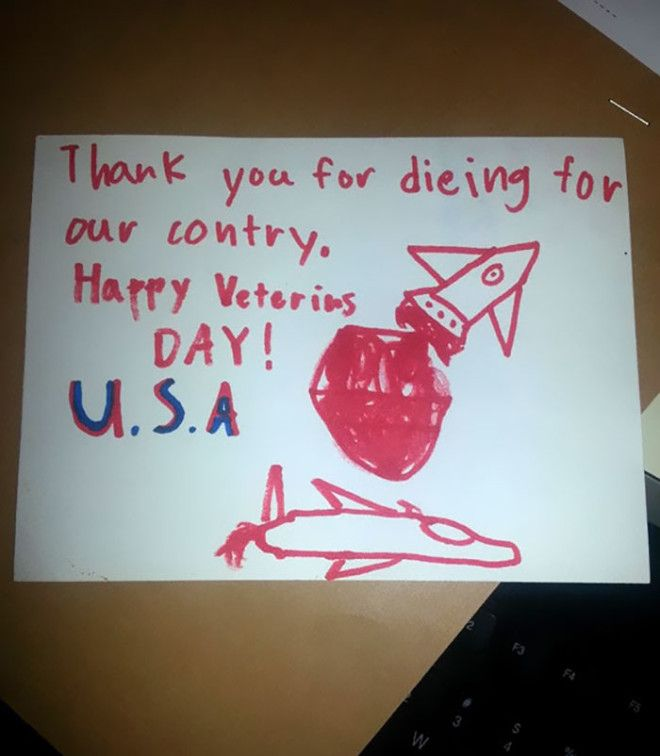 "My Wife Works At The Va Where School Kids Dropped Off Cards. The Elderly Vet That Got This One Responded: ""I'm Not Dead Yet!"""