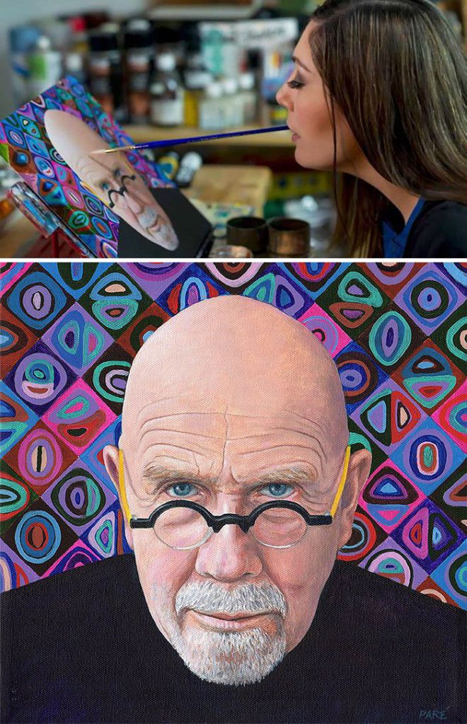 Mariam Paré Painting A Portrait Of Chuck Close With Her Mouth
