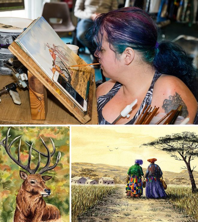 Disabled Artist Leanne Beetham Paints Incredible Scenes By Holding The Paintbrush In Her Mouth