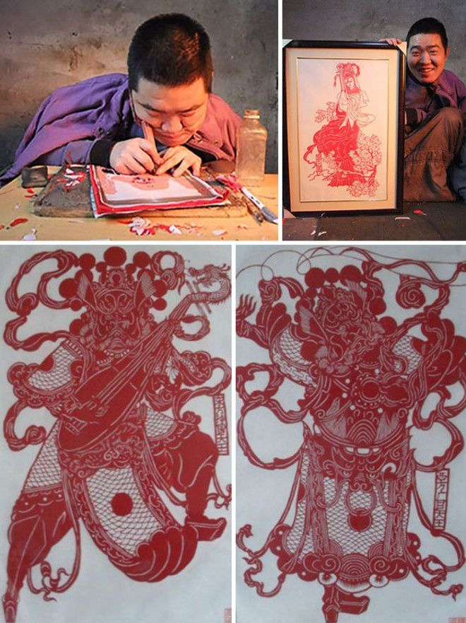 Yang Is Attentively Creating Chinese Paper Cutting Art. At The Age Of 10 He Was Diagnosed With Als Disease So His Art Is Mostly Made By His Face. A Piece Of Elastic Is Wrapped Around His Face To Help His Debilitated Hands Moving The Graver