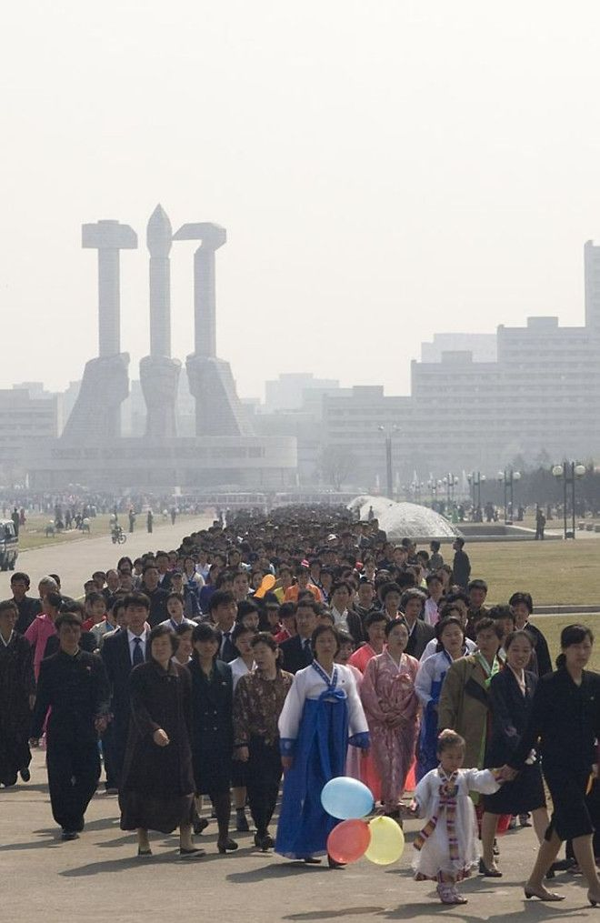 Thousands Of North Koreans On The Day Of The Kimjongilia Festival, Queuing Up To Visit Various Monuments