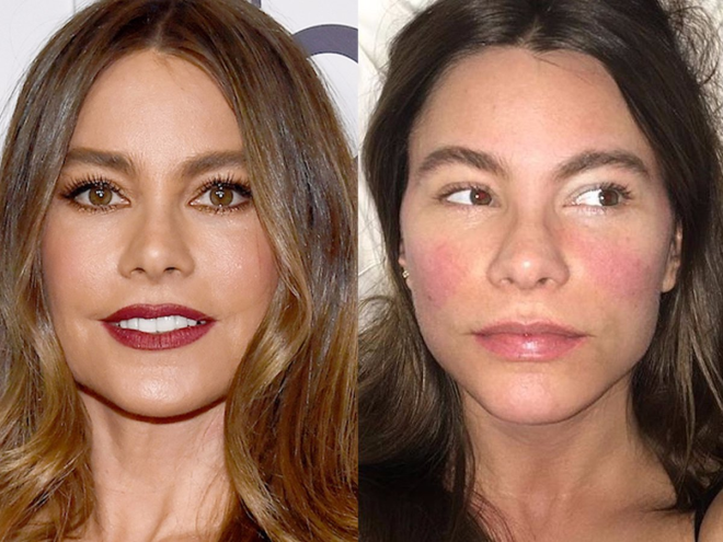 Sofia Vergara displayed flushed cheeks and full brows on social media.