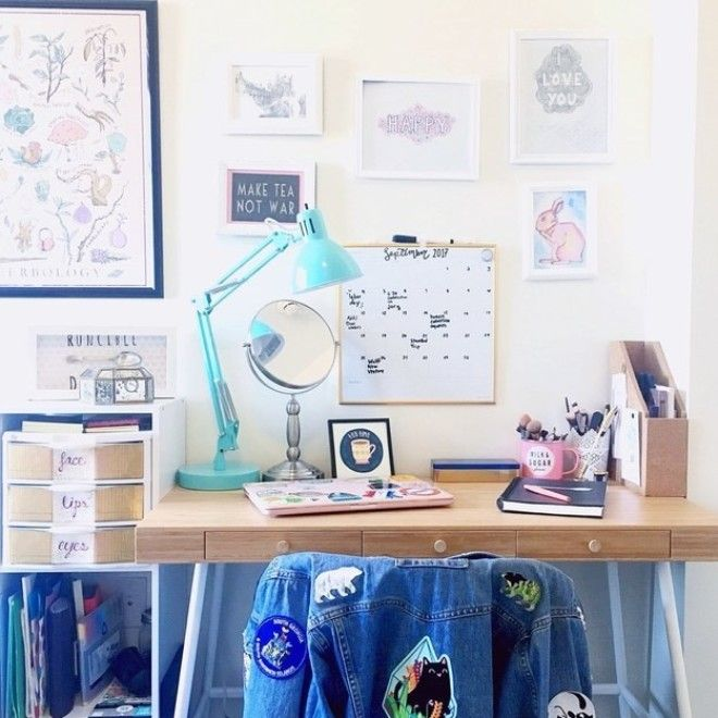 As a small business owner, I need my workspace to inspire me to create so I've filled it with my friends' artwork. —oliviam41e2cb914