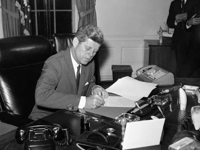 When it came to John F. Kennedy's workspace in 1962, one desk phone wasn't enough.