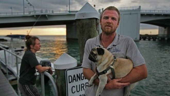 February 8, 2018 - Madiera Beach, Florida, U.S. - JIM DAMASKE | Times.Tanner Broadwell, 26, and Nikki Walsh, 24, sold everything they had in Colorado, bought an old sailboat and set out to sail around the Caribbean with their 2-year-old Pug, Remy. But their trip was cut short on Wednesday night when motoring their boat named Lagniappe into John's Pass (background), they struck something underwater that tore their boat's keel off and caused it to sink about 20 minutes later. They and their dog were rescued, but are now stranded in Madeira Beach with one cell phone some of her clothes and some dog food. (Credit Image: © Jim Damaske/Tampa Bay Times via ZUMA Wire)