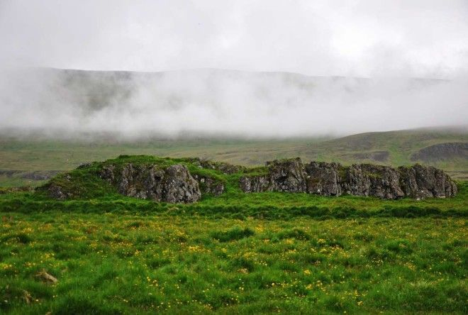 Rock formations at Illugastaðir farm in Iceland.
