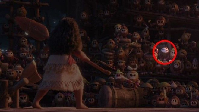 One Of The Kakamora In Moana Is Painted Like Baymax From Big Hero 6
