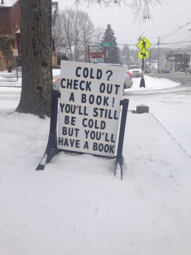My Towns Public Library Has A Clever Blizzard Solution