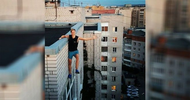 Andrey Retrovsky just before falling from nine-story building