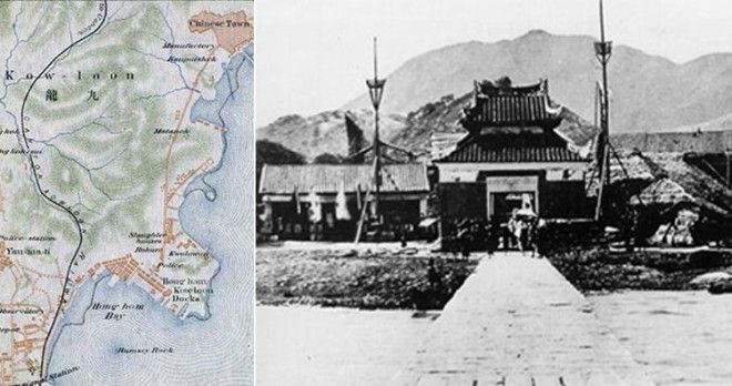 Chinese Town marked in map, Kowloon Walled City in 1898