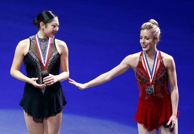 Mirai Nagasu and Ashley Wagner at the podium