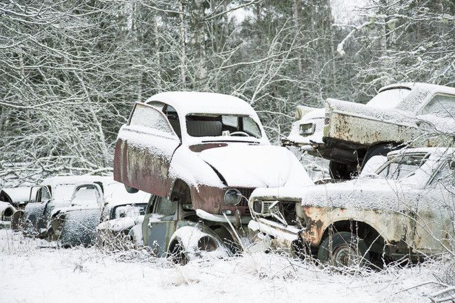 A car graveyard, Sweden.