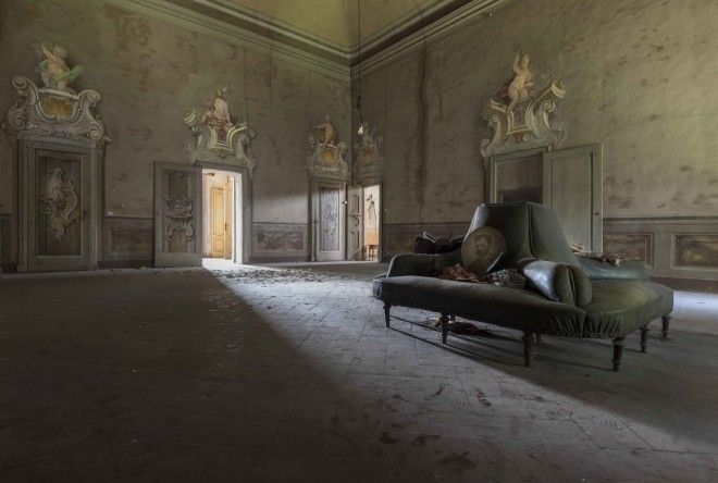 The living room of a villa near Milan that was recently restored.
