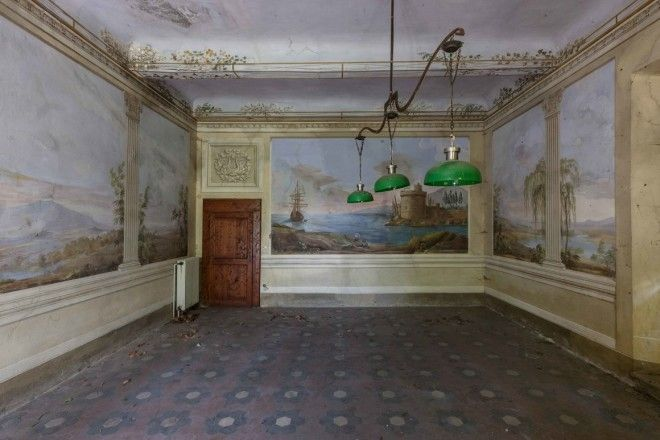 The frescoed recreation room of an abandoned villa in Tuscany.