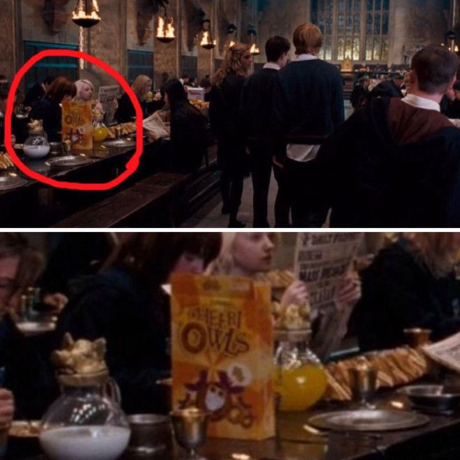 In Harry Potter Background Students Can Be Seen Eating Parodies Of Real World Cereal Brands Such As CheeriOwls