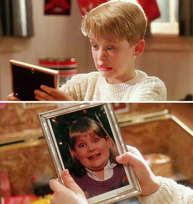 When Kevin Goes Through Buzzs Things He Finds A Picture Of His Girlfriend He Says Woof Implying That Shes A Dog Director Chris Columbus Thought It Would Be Too Mean To Ask A Real Young Girl To Be In The Photograph So He Asked The Films Art Director To Have His Son Dress Up As A Girl