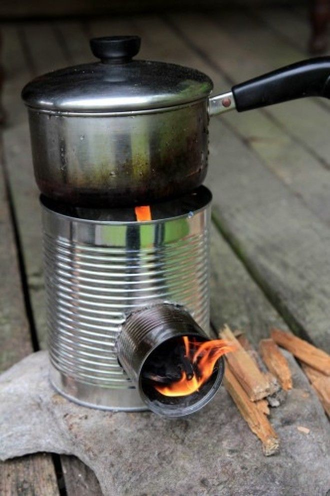 With a couple of tins and some kindling, you can make a stove.