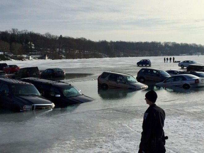 They all parked on ice, and it cracked.