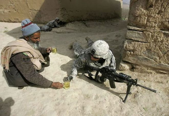 When this soldier got something to drink from a civilian when fighting on his own soil.