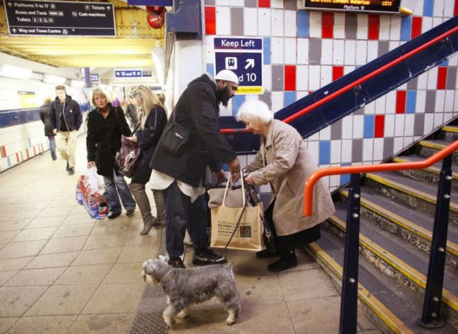 When this man stopped what he was doing to help an elderly woman with her bags