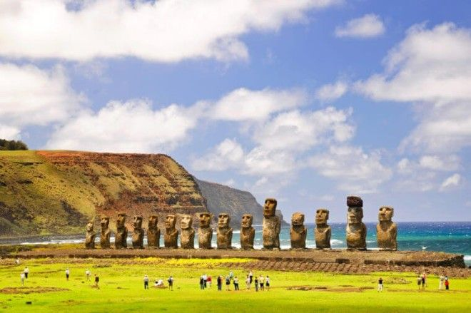 CHILE FEBRUARY 6 Moais of Ahu Tongariki on Easter Island Chile